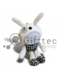 3D Игрушка Кролик ч\б (размер 20 см) запечатка 5х5см / 2-PD38 4323