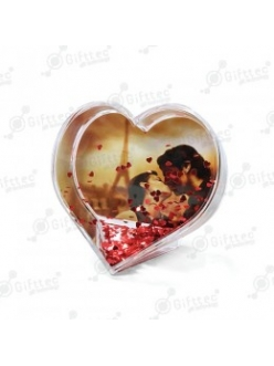 Шар водяной в форме сердца, под полиграфическую вставку с хлопьями в виде сердечек, шт 4351