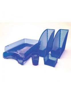"""Набор настольный пластиковый 6предметов (2горизонт.лотка, 2вертикал.лотка, карандашница, бокс для бумаг) цвет синий """"Attache"""" 517147"""