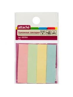 """Набор закладок самокл.(50*12мм) 4*25л. цв.бумажные """"Attache"""" 692954"""