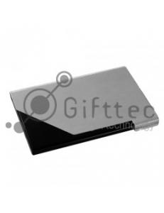 Визитница алюмин.крышка с черным уголком. 10312