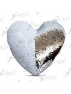 Наволочка в виде сердца 40х40см СЕРЕБРЯННАЯ С ПАЙЕТКАМИ 11214