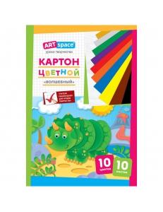 """Набор цветного картона 10л.10цв. А4 """"Волшебный"""" """"Спейс"""" 152943"""