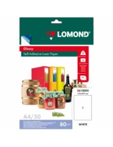 Самоклеящаяся бумага A4/50л.80г для лазерных принтеров Глянцевая LOMOND 2610005